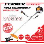 Мотокоса FERMER 4.2 кВт, двиг. 43 см3, плавн. пуск, 5-на комплектація (3 ножа + 2 катушки, штанга 26/9)